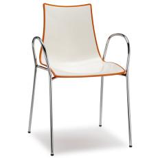 Chaise bicolore avec accoudoirs h74113 blanc + orange