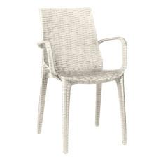 Chaise tissée en polypropylène renforce avec accoudoirs h74123 lin